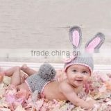 Toddler 1-6 Years Lovely Gray rabbit suit one hundred days props photography Baby Kids Hat Knitted Girls Crochet Wool Cap