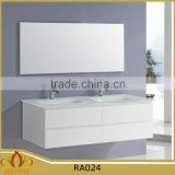 Elegant modern glass basin double sink MDF hanging bathroom cabinet RA024