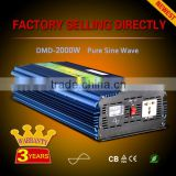 Home solar system dc 12v to ac 220v photovoltaic 2000w pure sine wave inverter for refrigerator