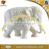 Outdoor white marble elephant statue