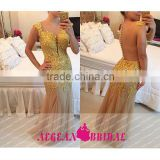 B05 Sexy Backless Speghetti Straps Sweetheart Mermaid gold sequin bridesmaid dress Long vestido de madrinha longo