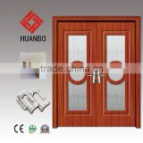 2015 Beautifule design mdf wooden door double swing wood commercial doors with frosted glass for villas