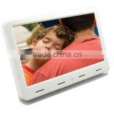 7 inch battery operated wall mount digital picture frame with 4 small high fidelity speaker auto play video ad player nail kiosk