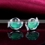 cheap wholesale elegant women jewelry 925 silver natural green agate Chalcedony earring from china