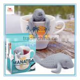Cute Silicone Tea Infuser Mr and Mrs ManaTea, Set of 2, Grey and Pink, cute animal shaped Silicone Tea strainer