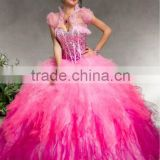 2013 sweetheart beaded sequined sweetheart ruffled ball gown custom-made hot pink Quinceanera dresses with bolero CWFab5489