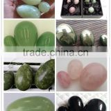 wholesale various gemstone jade eggs rose quartz nephrite obsidian eggs for women vaginal exercise drilled jade yoni eggs
