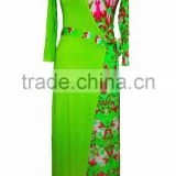 Beautiful Green Print Jersey Wrap Kimono Dress