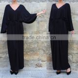 2017 Spring Summer Black Elegant Long Sleeve Maxi Evening Dress For Fat Women Casual Caftan HSD5976