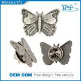 Beautiful butterfly shape iron die casting nickel plating souvenir pin custom metal badges