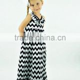 wholesale factory summer chevron bohemian dress toddler baby cotton chevron beach wear dress children chevron dress MC6011901