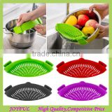 Upgrade Foldable Kitchen Silicone Strainer, Kitchen Extras Silicone Clip-On Snap and Strainer Clip Colander