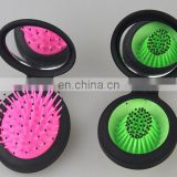 Colorful Mini Portable Folding Health Massage Brush Hairbrush Comb with Mirror
