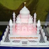 White Marble Taj Mahal Replicas, Decorative Marble Taj Mahal With Lighting