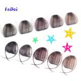Women Human Hair Clip In Bangs Fringe Blonde Hair Extensions Front on Brown Black Blonde