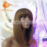 100 Percent Human Hair Short Bob Lace Front Wig With Bangs Silky Straight Virign European Hair Wig For Black Women