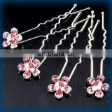 2013 newest fashion alloy flower rhinestone hair pin fork