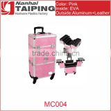 2 in 1 professional hard pink leather cosmetic trolley cases with drawer 4-Wheel