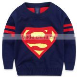 Stylish Super man pattern Knitted Clothing children sweater Pullover                                                                                                         Supplier's Choice