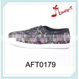 colorful fashion girls slip on lace up mesh upper handmade spring flower casual flat shoes