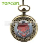 Red Skull Head Design Antique Look Quartz Pocket Watch Chain Black Dial Value Quality LPW136