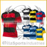 Custom Sublimation Printing 100% Polyester Men's Rugby jerseys, shirts, uniforms, shorts