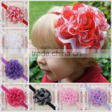 wholesale top 15 colors red flower elastic headband gauze flower kids hair accessories MY-AC0018