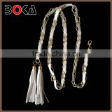 // Hot Selling fashion iron chain belt with white rope // and tassel for wholesale , fashion belt factory outlet //
