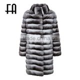 Factory direct wholesale fashion long chinchilla fur coat
