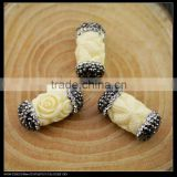 LFD-0043B Wholesale Shell Beads Engraved Flowers White Round Tube Connector Paved Crystal Rhinestone Spacer Beads Jewelry