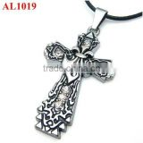 Most popular big cross charm with diamond steel material pendant necklace for Christmas HolidayAL1019