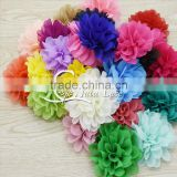 chiffon hair rose flower- rose fabric chiffon flower- baby rose flower headband- single chiffon fabric flower