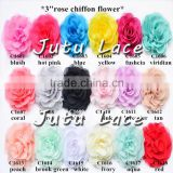 3inch rose chiffon flower, mini puff flower for baby hat accessories, cute baby crystal Headdress flower