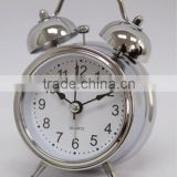 quartz analog table clock, twin bell alarm clock, silver metal bell clock