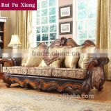 European-style luxury genuine leather and fabric wood sofa with pure handmade caving pattern N-244
