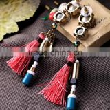 Round crystal pendant earring wholesale Fashion gold alloy rivet and tassel drop earring