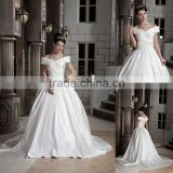 Off-the-shoulder Luxurious Satin Ruffles Ball Gown Floor Length Wedding Dress xyy03-103