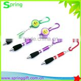 promotion yoyo gift pen with keychain puller badge reel ball pen with carabiner