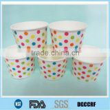 colourful dotted biodegradable disposable paper bowls for ice cream in variety designs and size