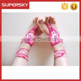 V-977 Fashion Boho Beach Wedding Barefoot Sandals Custom Yoga Dance Exclusive Crochet Anklet Foot Chain Jewelry