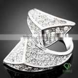 Noble full crystal white gold GP triangle rings
