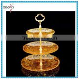 3tier glass cake stand handle gold wedding party decoretion                                                                         Quality Choice
