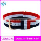 Fashion style multi color adjustable nylon strap with stainless steel buckle