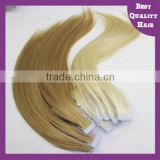 2016 New Wholesale Skin Weft PU Glue European Human Virgin Tape Hair Extensions in Stock