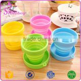 100% Food Grade Non-toxic Portable Silicone Collapsible Travel Cup/Foldable Water Cup with Lid