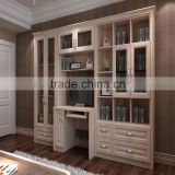 French Style Prety White Solid Wood Bookcase With Glass Doors Model