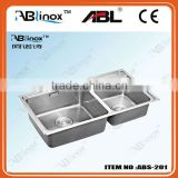 stainless steel stainless steel double bowl kitchen sink with stainless steel draining board