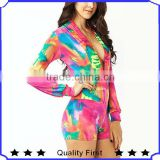 fashion watercolor prints flirty little sexy rompers with long banded sleeves pants woman