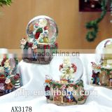 Customized music crystal glass snow ball for Christmas gift resin Craft / christmas glass snow ball