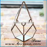 Decorate wedding house cube geometric glass terrarium wholesale copper vases
